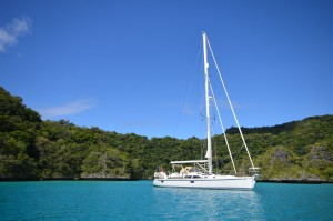 Adina anchored in the Bay of Islands, Fiji