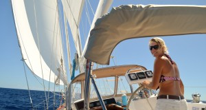 Susie helming en route to Bora Bora