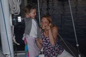 Susie and Leah dancing on the bow!
