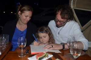 Frida, Jurgen and Leah sign our guestbook