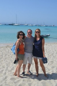 Judith, Roger and Susie on Formentera beach