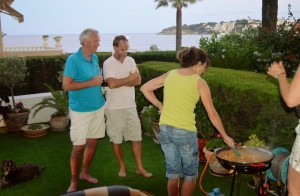 The boys observe the making of paella!