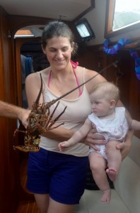 Amelia meets her first lobster!