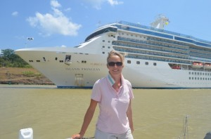 Susie with a cruise ship