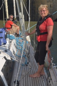 Jacque and Jacqueline manage the bow lines
