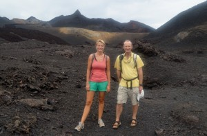 Hiking on a volcano with James