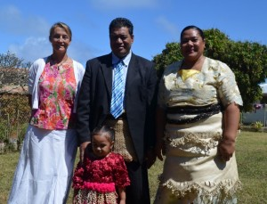 Attending church in Oua with Manase, Annie and Ofa
