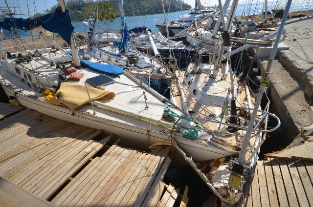 Devastation caused to yachts by Cyclone Pam