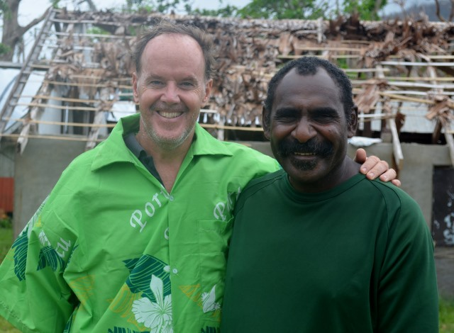 An unexpected thank you in the form of an island shirt from the village chief