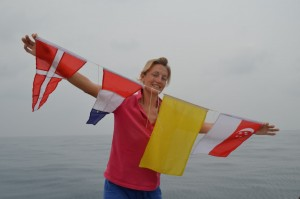Flags for Singapore - Susie made the first two!