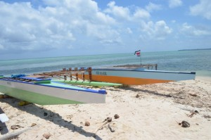 Outrigger canoes painted and ready to race!