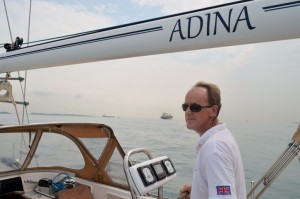 Tom concentrates crossing the Singapore Straits