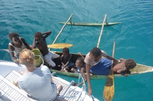 Trading from Adina's back step at Green Island, PNG